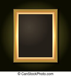 scuro, immagine, tela, cornice, oro