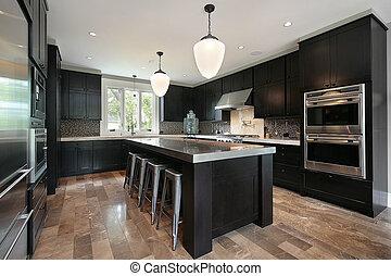 scuro, legno, cabinetry, cucina