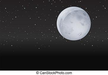 scuro, luna, notte
