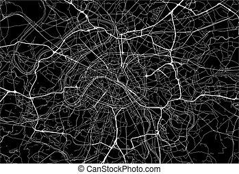 scuro, mappa, francia, parigi, zona