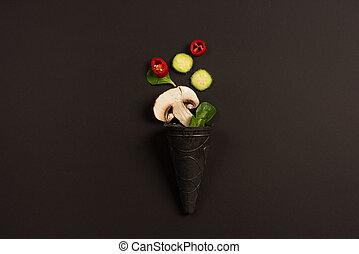 scuro, moderno, verdura, fondo, composizione, concetto