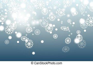 scuro, neve, blu, cadere, fondo