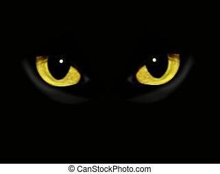 scuro, notte, gatto, occhi
