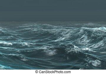 scuro, oceano, ruvido, blu, sotto, cielo
