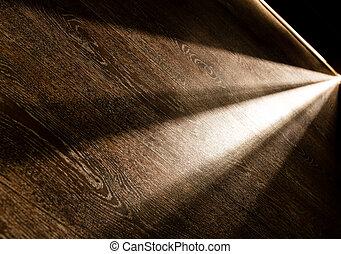 scuro, raggi luminosi, porta, stanza