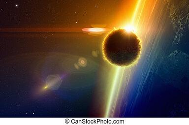 scuro, vita, ufo, forma, approcci, pianeta, extraterrestre, ardendo, terra