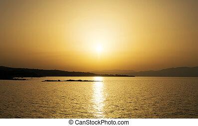 sea., fotografia, spiaggia., sopra, tramonto