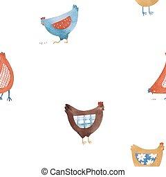 seamless, carino, vettore, modello, gallina, rustico, pollo, uccello, rurale, bello, stile, acquarello, paese