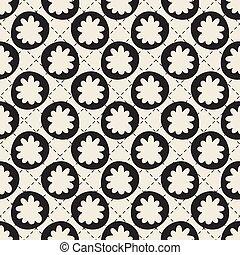 seamless, fiore, disegnato, mano, francobollo, modello, striscia, fondo, monocromatico
