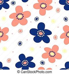 seamless, fiore, disegnato, polka, modello, striscia, puntino, colorito, fondo, mano