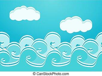 seamless, illustrazione, vettore, modello, mare, onde