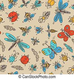 seamless, insetti, modello, scarabocchiare