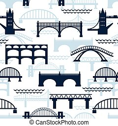 seamless, modello, silhouette, ponte