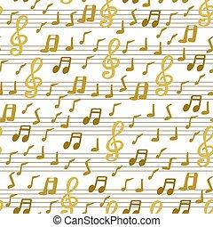 seamless, musicale, disegnato, mano firma, modello