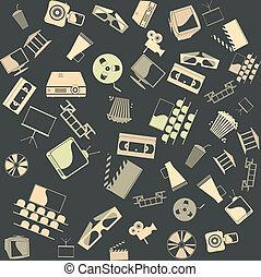 seamless., vettore, fondo, retro, film