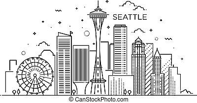 seattle, bandiera, art., linea, style., città, trendy, appartamento