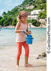 secchio, spiaggia, gioco, bambino
