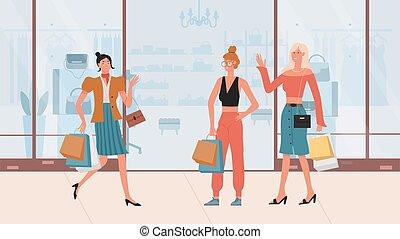 secondo, ragazze, shopping, borsetta, camminare, presa a terra, moda