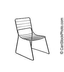 sedia, bianco, isolato