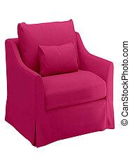 sedia, bianco rosso, isolato
