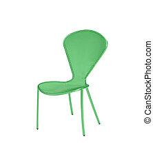 sedia, bianco, verde, isolato