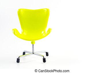 sedia, bianco, verde, isolato, fondo