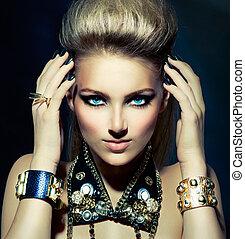 sedia dondolo, stile, moda, acconciatura, portrait., modello, ragazza