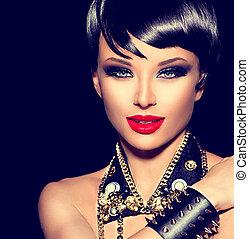 sedia dondolo, stile, moda, bellezza, punk, girl., brunetta, modello