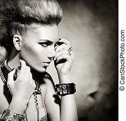 sedia dondolo, stile, moda, ragazza, nero, portrait., bianco, modello