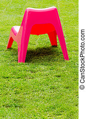 sedia, erba, verde rosso, plastica