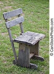 sedia legno, erba, verde