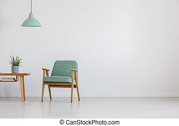 sedia, menta, spazio, aperto