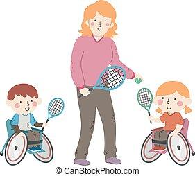sedia ruota, tennis, illustrazione, bambini, allenatore