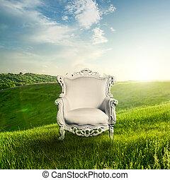 sedia, tramonto, braccio, paesaggio