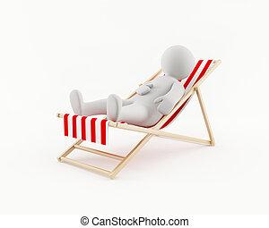 sedia, uomo, spiaggia, rilassante, 3d