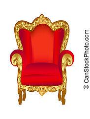 sedia, vecchio, rosso, oro