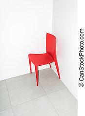 sedia, white., rosso