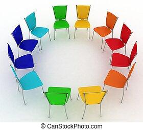 sedie, costi, rotondo, gruppo
