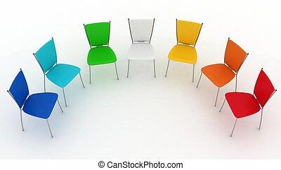 sedie, half-round, costi, gruppo