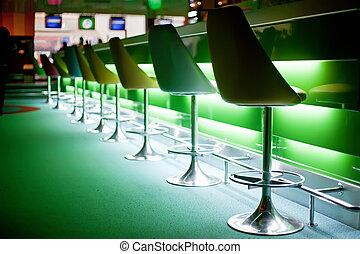 sedie, luci, sbarra, verde