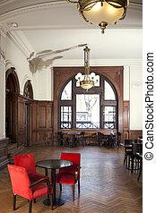 sedie, rosso, vuoto, ristorante
