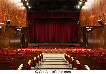 sedie, tenda, rosso, auditorio