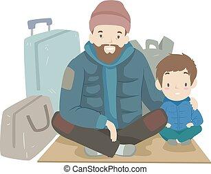 seduta, capretto, ragazzo, babbo, senzatetto, illustrazione, uomo