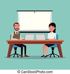 seduta, colorare, coppia, lavoro, persone, fondo, scrivania, fronte, presentazione, laptop, funzionari