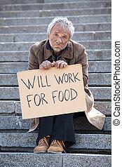 seduta, depresso, manifesto, lavoro, cibo., volontà, indossare, presa a terra, uomo, scale, sporco