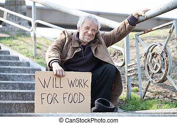 seduta, depresso, manifesto, lavoro, cibo., volontà, mentre, indossare, presa a terra, uomo, scale, sporco