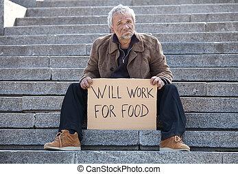 seduta, depresso, manifesto, lavoro, cibo., volontà, presa a terra, anziano, scale, uomo