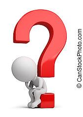 seduta, domanda, persone, -, pensatore, piccolo, 3d