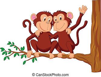 seduta, due, cartone animato, scimmie, tr
