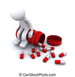 seduta, vaso, carattere, ammalato, pillola, 3d